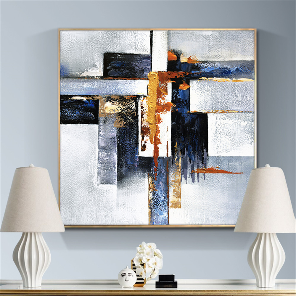 Abstract Geometric 100% Hand Painted Oil Painting On Canvas Wall Art Paintings Vintage Minimalist Poster Art Modern Home Decor