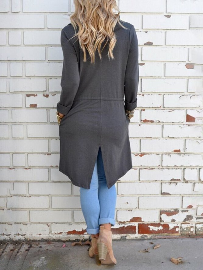 Cotton-blend Long Sleeve Paneled Casual Cardigan | Outerwear | Casual Pockets Long Sleeve Outerwear - Mondadays | mondadays