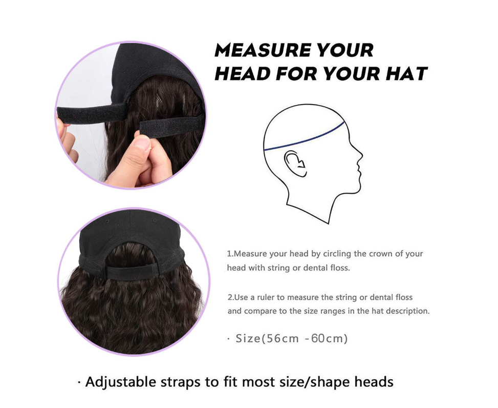 Short Wave Baseball Cap Wig with Curly Hair Extensions Synthetic Wave Wig Hat for Women Adjustable Brown Black Baseball Hat