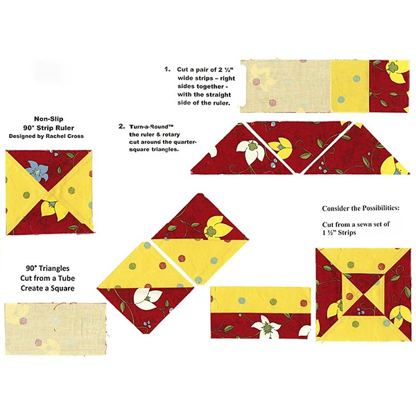 Non-Slip 90° Degree Double Strip Quilting Ruler Template