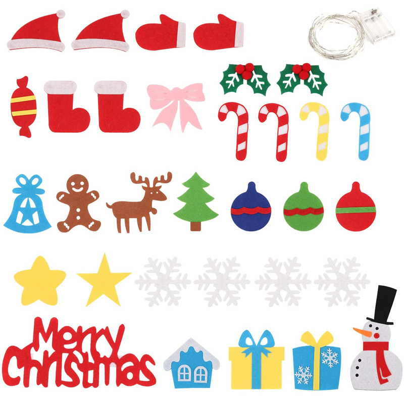 3.2ft Felt Christmas Tree DIY Wall Hanging Xmas Tree with 32 pcs Ornaments and 50 LEDs String Lights