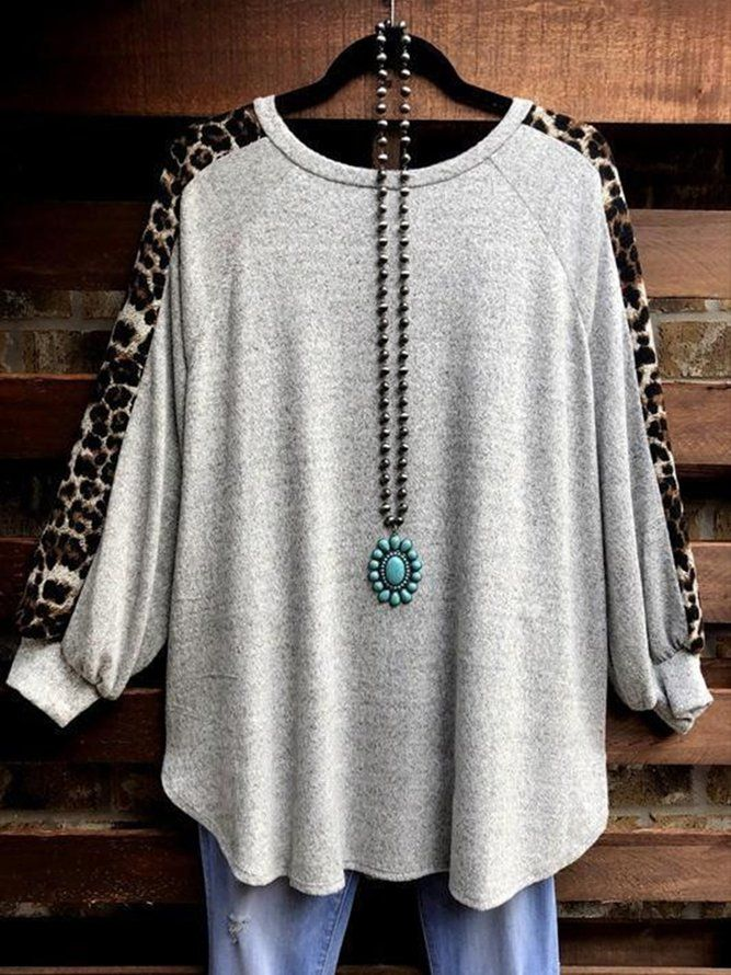 Leopard Stitch Casual Round Neck Tops T-shirt | Tops | Mondadays Long Sleeve 1 Gray Women Tops Spandex Round Neck Vintage Daily Color-Block Tops | mondadays