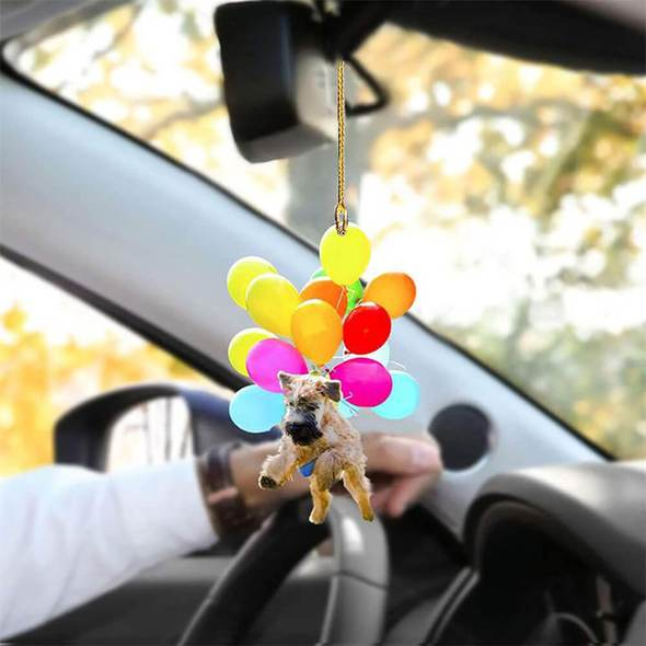 Mixed Breed Poodle Dog Fly With Bubbles Car Hanging Ornament