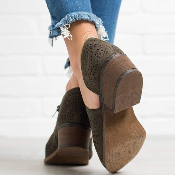 Lemmikshoes Hollow Low Heel Cutout Booties