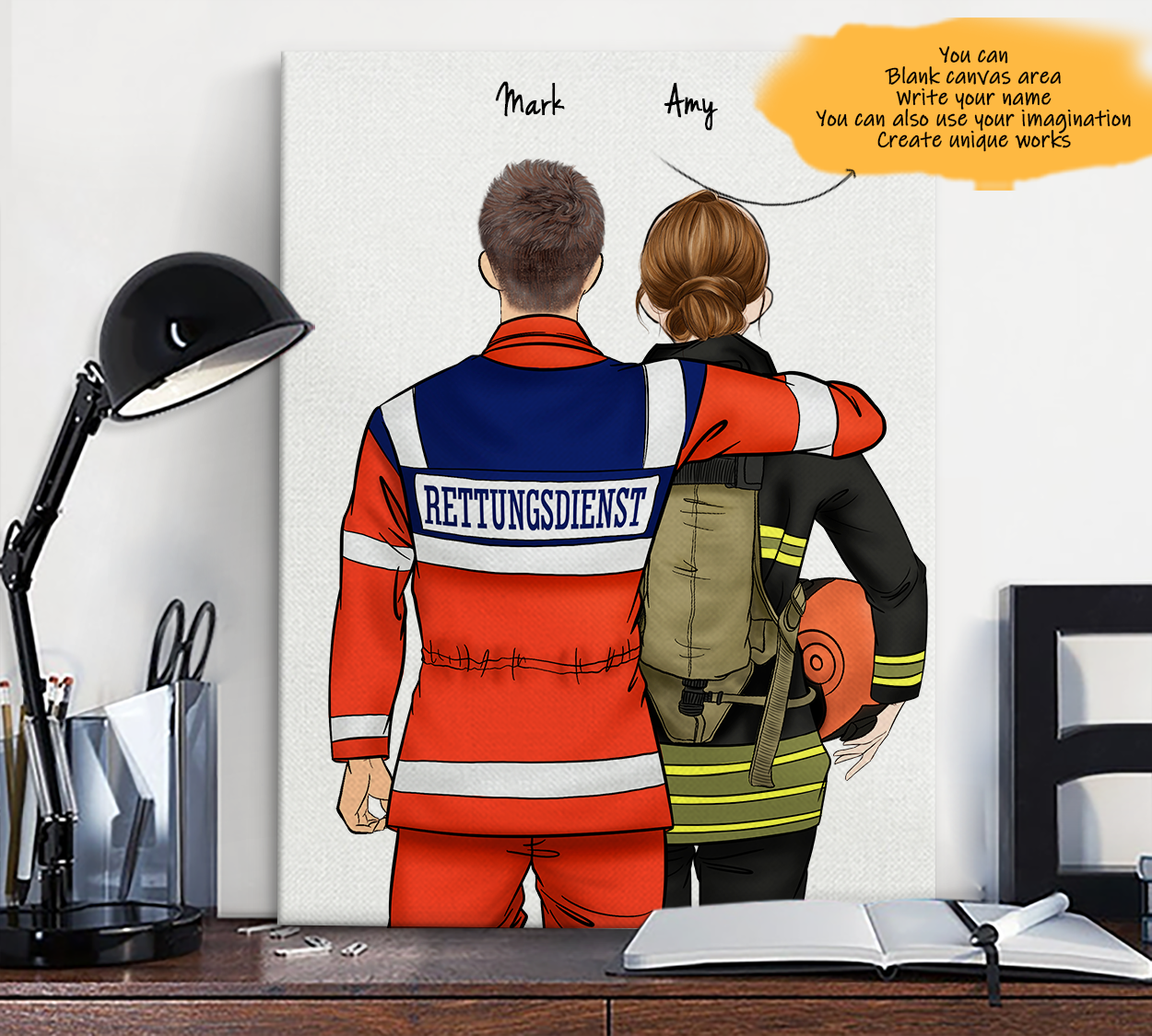 He is My Friend! Hand Draw Custom Canvas-Print Gift AmbulanceDriverGermany-Light&Firefighter