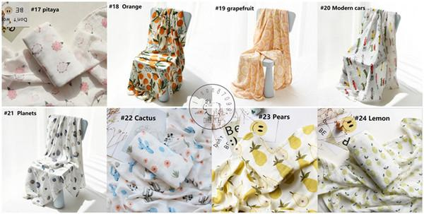 Mermaid Unicorn Newborn Bamboo Muslin Swaddles Blanket Maternity Ins animal 33 Cute prints Stroller Cover 2layers 120*120cm Quality Gift Box