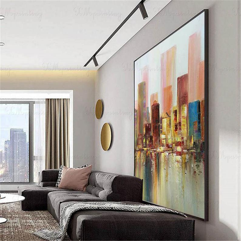 Hong Kong cityscape abstract painting canvas wall art pictures for living room bedroom hallway wall decor gold original acrylic decoration
