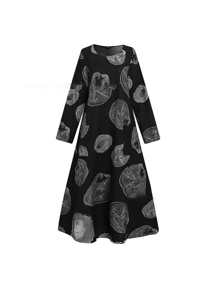 Ethnic Style Plus-size Cotton and Linen Printed Dresses