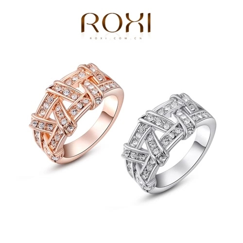 Roxi Fashion Hot Sale New Gold Plated Zircon Crystal Rhinestone Weave Ring Jewelry for Women Wedding Gift