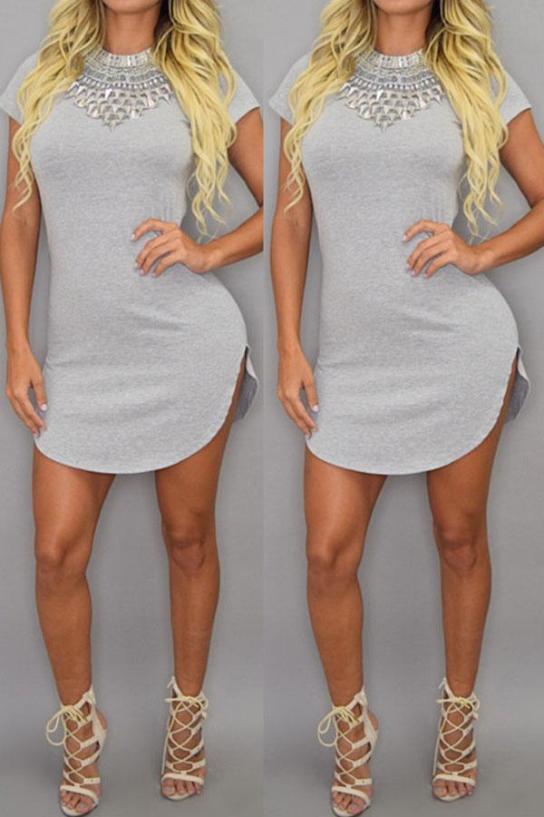 Irregular Large Size Solid Color Sexy Dress