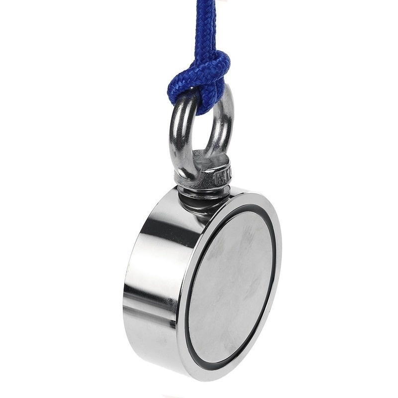Hot Sales Super Strong Double Side Combined Pulling Force Round Neodymium Magnet, Fishing Magnet with Eyebolt 10m Rope for Magnet Fishing and Salvage In River and Treasure Hunting 320kg