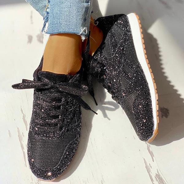 Faddishshoes Solid Sequins Lace-Up Sport Sneakers