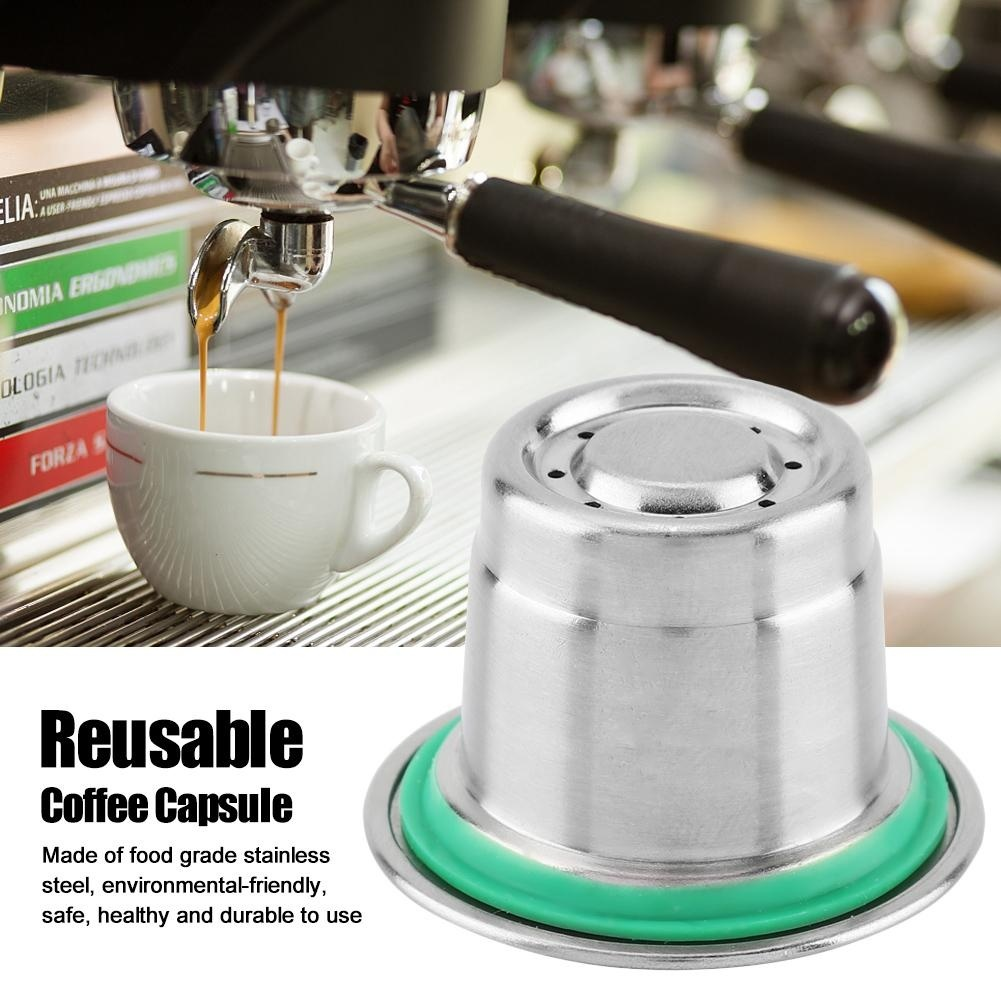 Stainless Steel Refillable Reusable Coffee Capsule Compatible For Nespresso Coffee Machine Home Garden