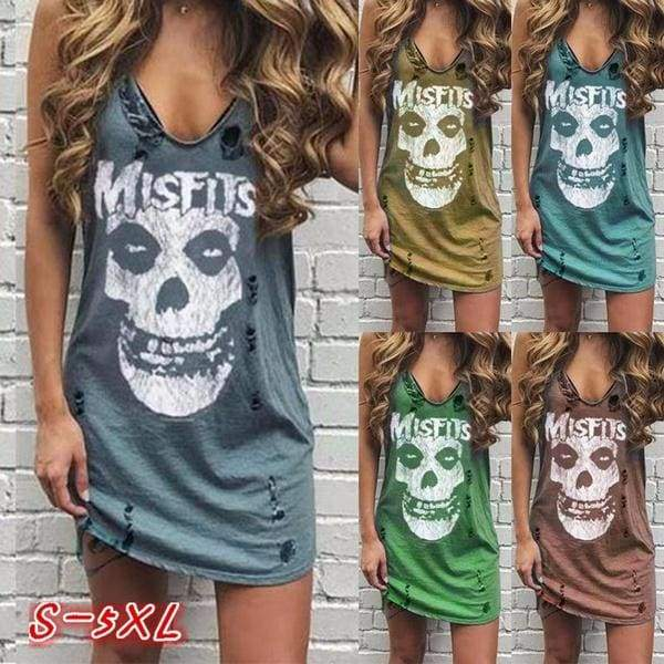 5 Color Summer Women Fashion Casual V-neck Sleeveless Cotton Dress Skull and Misfits Letter Printing Punk Style Hole Street Style Cool Short Dress Plus Size S-5xl