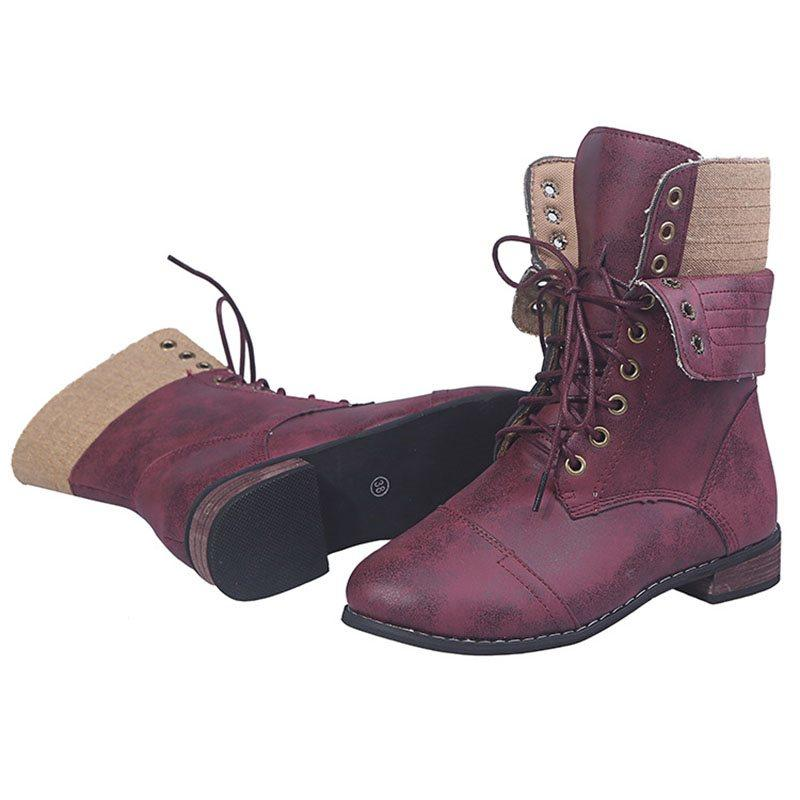 Lace-Up Front Block Heel Round Toe Thread Cotton Boots