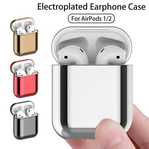 Plating PC Case for Airpods 2 Protective Cases for AirPods Electroplate Cover on For AirPods 1 2 Earphone Box Coque Funda