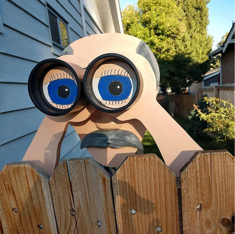 Nosy Old Man and Lady Fence Yard Sign Decoration