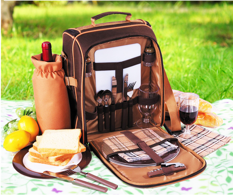 Outdoor Portable camping picnic bag with cutlery refrigerator bag  picnic set for 2 travel backpack cooler ice bags