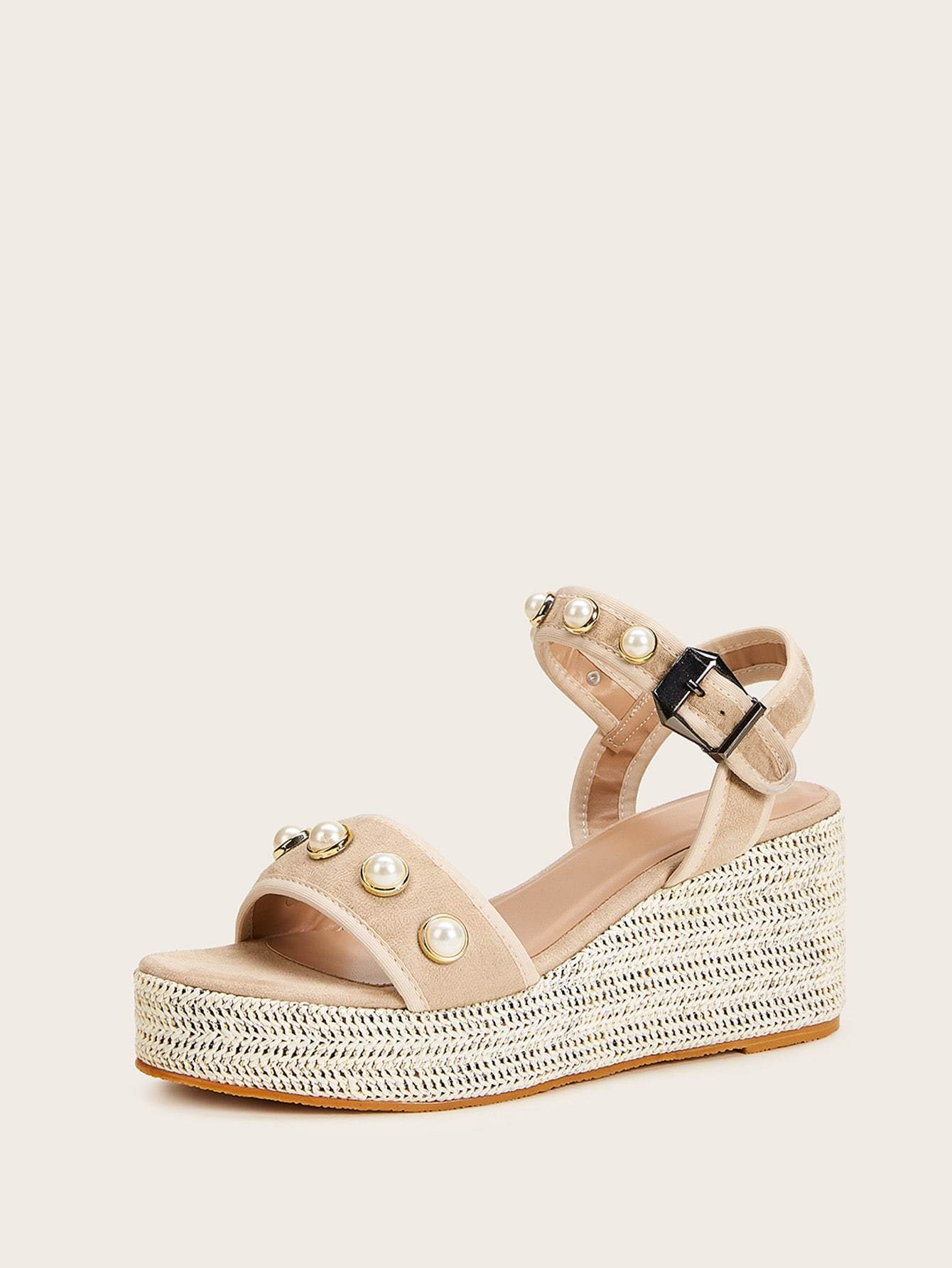 Faux Pearl Decor Buckle Strap Wedges