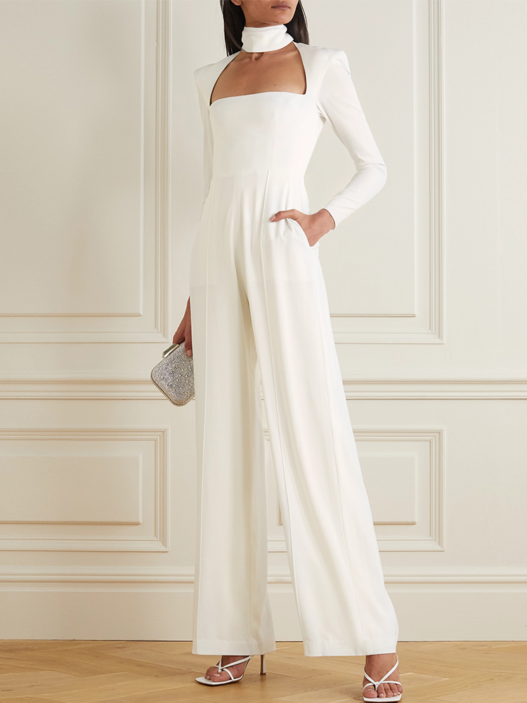Solid Color Stand Collar Jumpsuit
