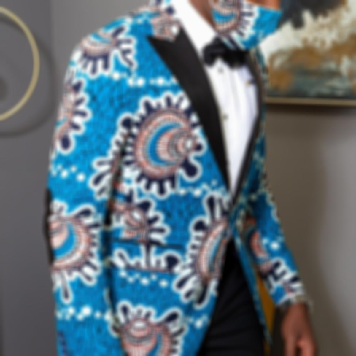 Vintage Cotton,Polyester Long Sleeve Polo Lapel Floral All Over Print with Suit(Plus Size)