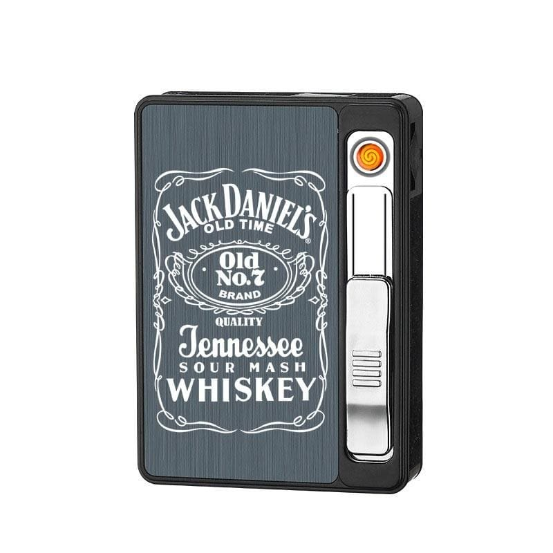 Cigarette Dispenser Storage Box Cigarette Case 20 Loaded High Capacity with USB Rechargeable Cigarette Lighter