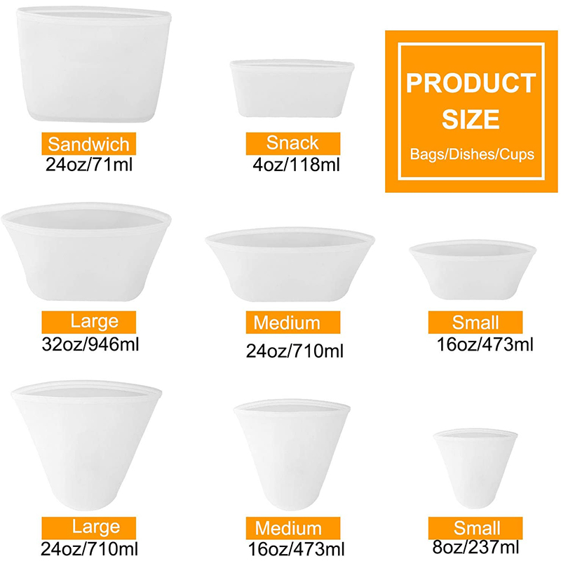 (50 % Off Global Orders Arrive in 3-7 days)<br>8 Packs Zip Lock Silicone Containers