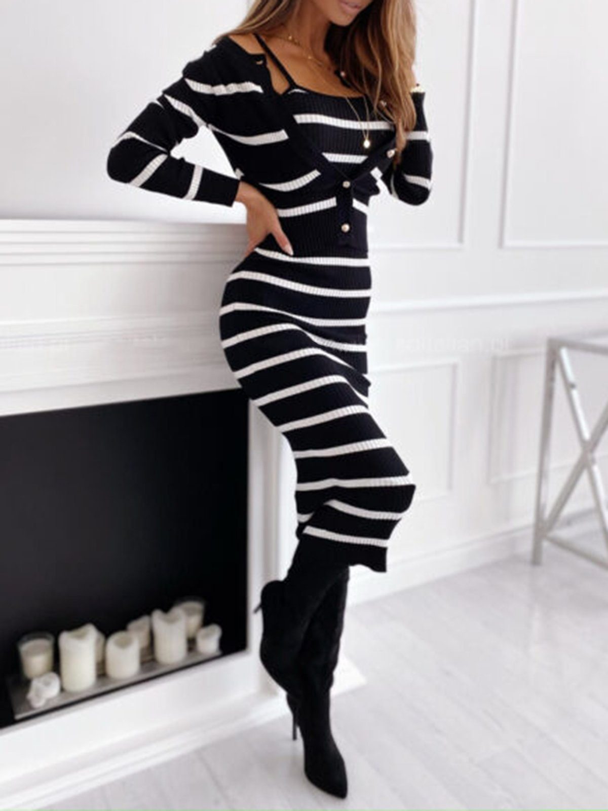 Women's sexy tight sweater two-piece dre