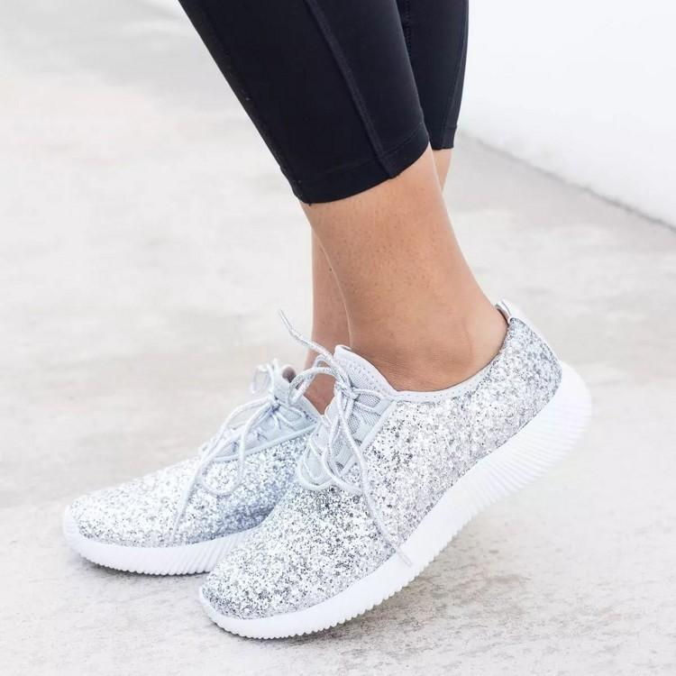 Women Comfy Shoes Plus Size Bling Sparkling Glitter Sneakers