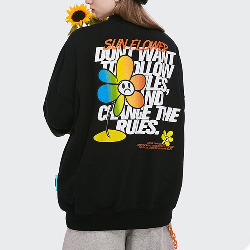 Street Cotton,Polyester Long Sleeve Floral with Hoodies(Plus Size)