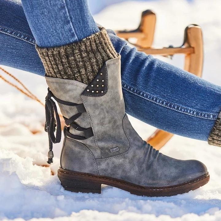 Ladies Retro Winter Outdoor Zipper Snow Boots