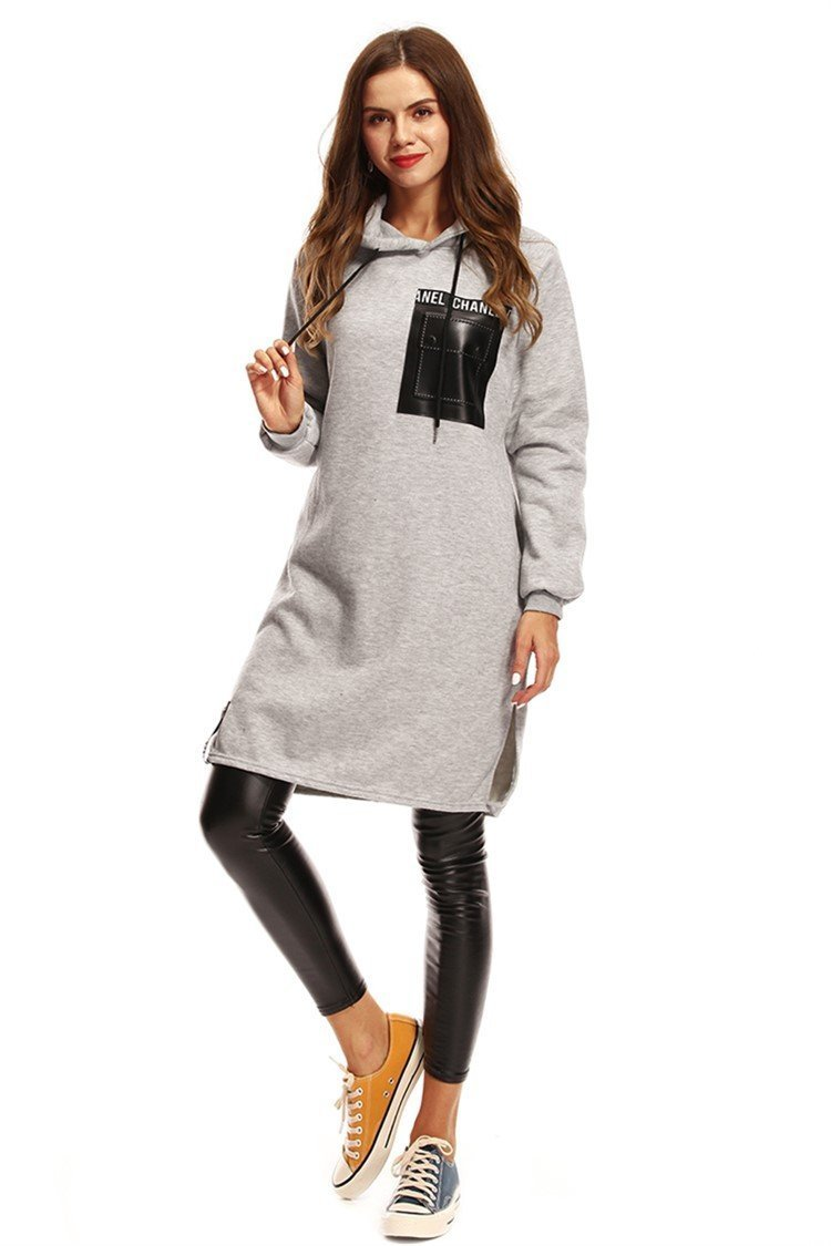 Winter casual women pocket hoodies long section