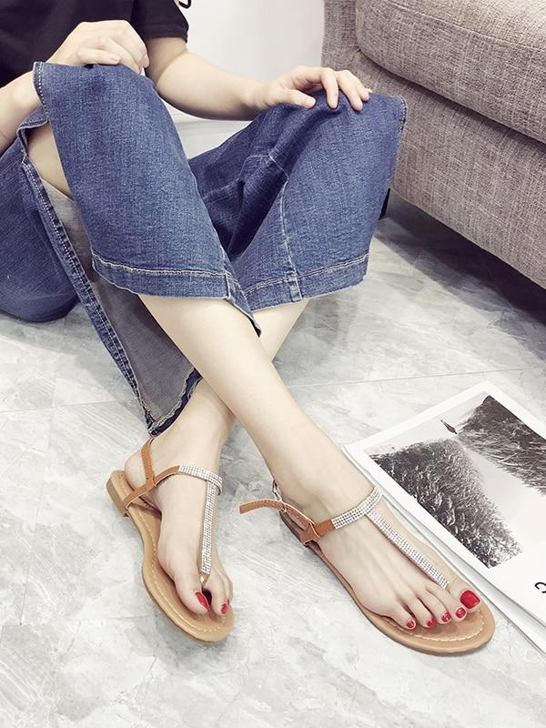 Toe Post Rhinestone Decor Flat Sandals