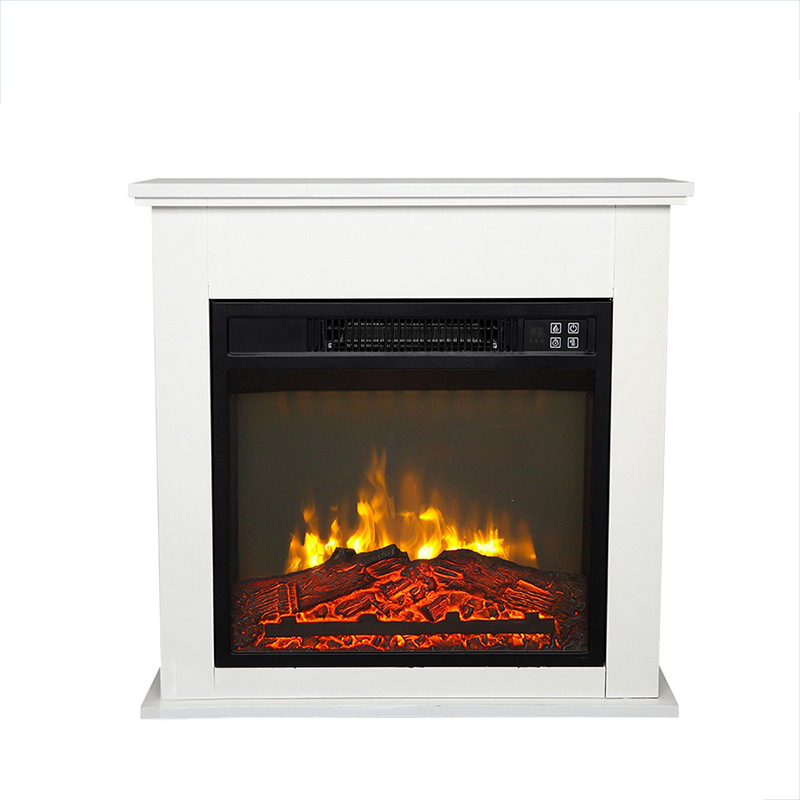Buyonhome 18-inch White Wood Cabinet Style 1400W Heating Wire Fireplace With Remote Control