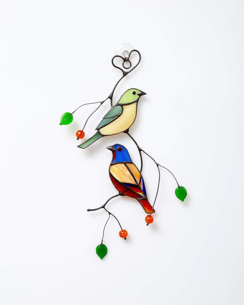 Bunting Bird Stained Glass Window Hangings Custom Stained Glass Mothers Day Gift