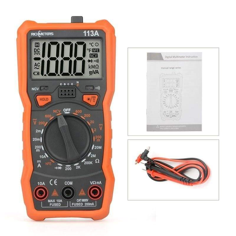 RICHMETERS RM113A AC/DC Multimeter Digital Multimeter Ammeter Electrical Multimeter Multimeter Tester Ohm Meterammeter Voltmeter Ammeter Handheld Tester 6000 Counts Auto Ranging Voltage Meter Amperemeter Ohmmeter with Flash Light Back Light Large Screen