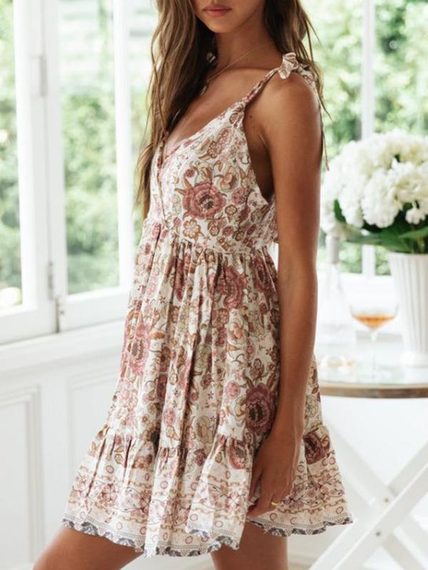 Twinklemoda Summer New Sexy Deep-v Backless Beach Vacation Printed Dress