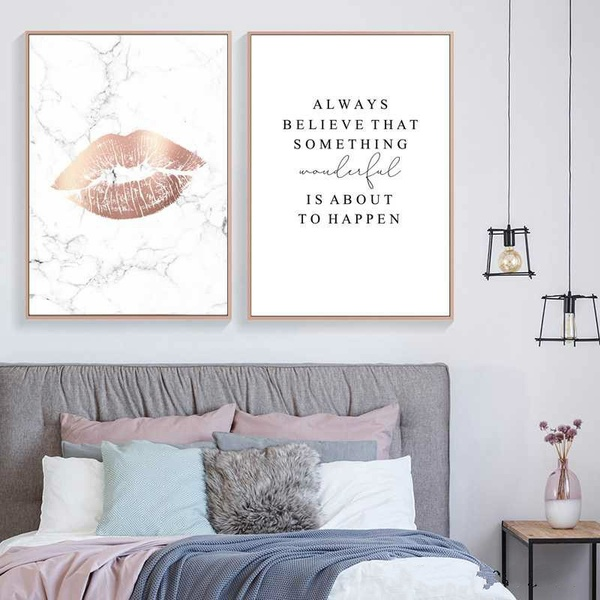 Home Decor Canvas Painting Marble Style Poster Nordic Pink Lip Abstract Letter Pictures Wall Art Print Modular for Bedroom No Frame