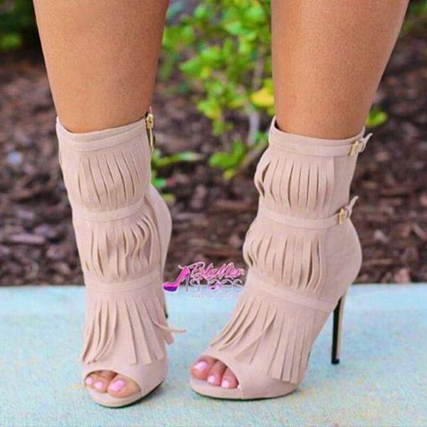Faddishshoes Tassel Zipper Fashion High Heels