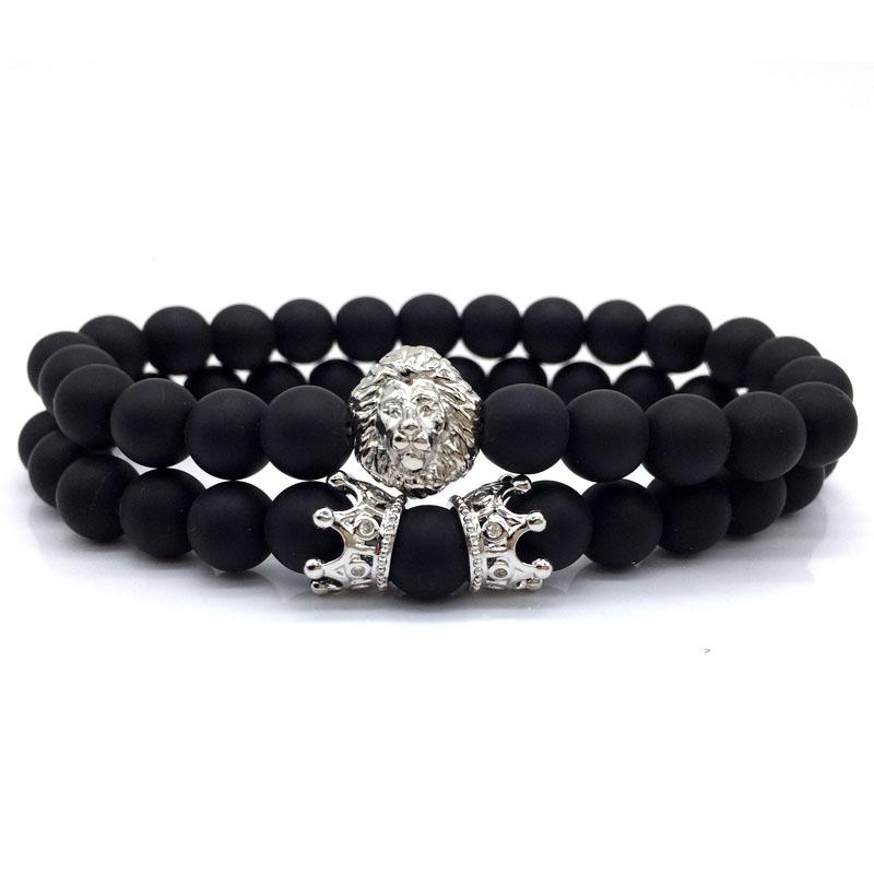2pcs/set 2018 New Fashion Lion Crown Couple Charm With Lava Bead Bracelet Sets For Men Wristband Jewelry Accessories