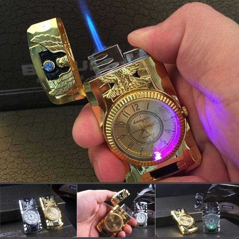 Fashion Metal Windproof Jet Torch Gas Cigarette Lighter Quartz Watch Cool Light Gold