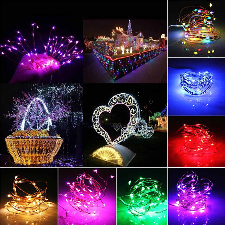 Solar led copper wire lamp 100leds string light 8 function outdoor waterproof garden Christmas decoration lighting