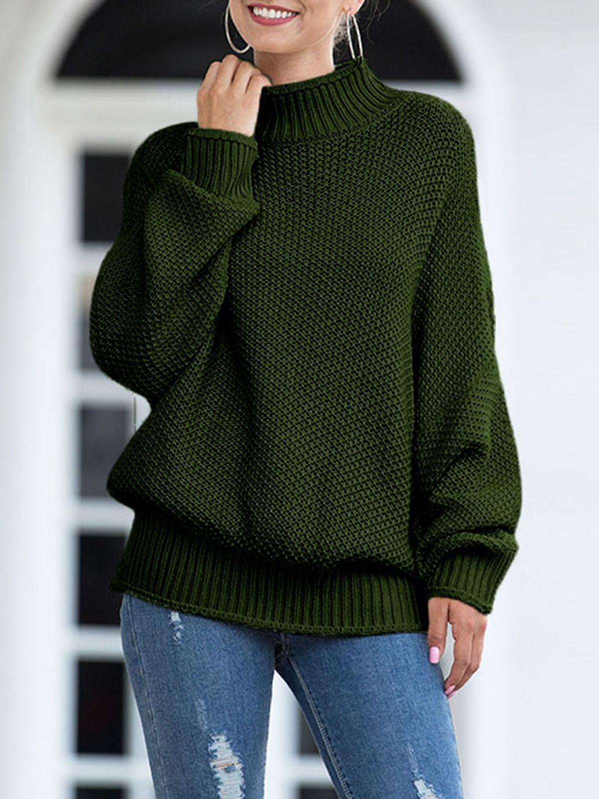 Womens Turtleneck Oversized Sweaters Batwing Long Sleeve Pullover Loose Knit Jumper