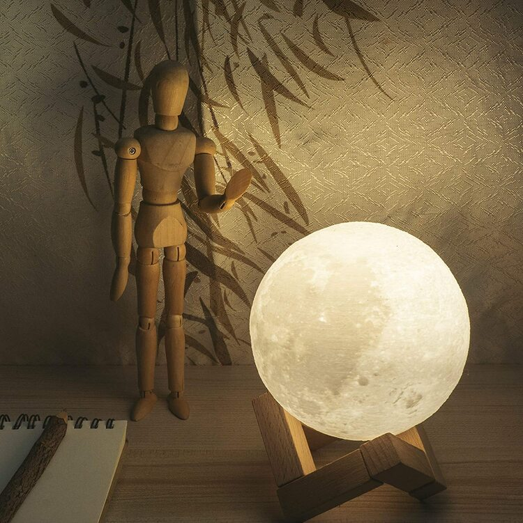 16 Colors Remote & Touch Control,Timing 3D Moon Lamp - Rechargeable Night Light