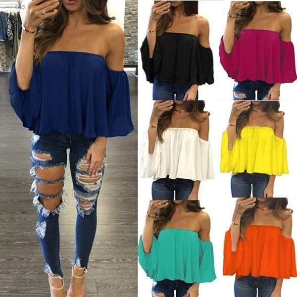 Fashion Women Off Shoulder Chest Wrapped Sexy Chiffon Tops Halter Neck Loose Long Sleeve T Shirts