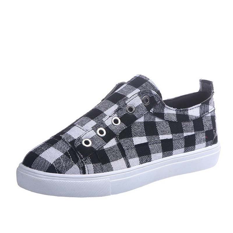 Plaid comfortable slip-on shoes