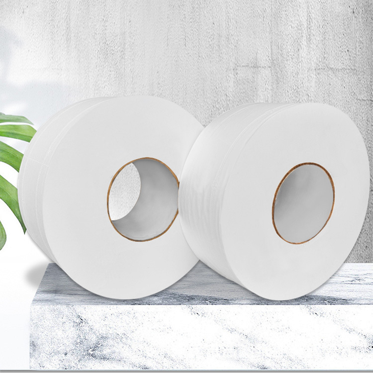 AHOME7 4 Rolls 4 Layers 90mm*130mm Wood Pulp Bath Tissue Paper Household Toilet Paper Roll with Core Breakpoint for Home Hotel Supermarket 500g