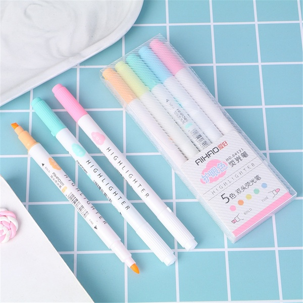 5pcs/lot Double Head Highlighters Art Marker Highlighter Pens Pastel Markers Watercolor Fluorescent Drawing Pen