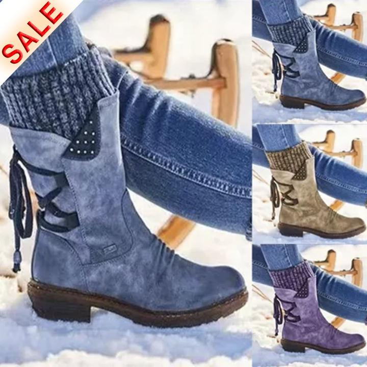 New Fall & Winter Back-lace Arch Support Mid-calf Boots
