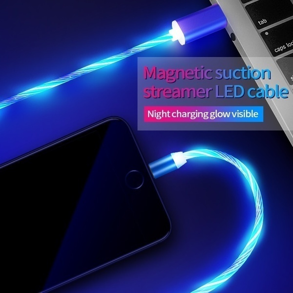 New 3 Color Rainbow Fluid Led Light Magnetic Charger Cable Flowing 2.4A Fast Charging Magnet Micro USB Type C Lightning Cable For iPhone Samsung OPPO VIVO Huawei LED Magnetic Wire Cord  1M